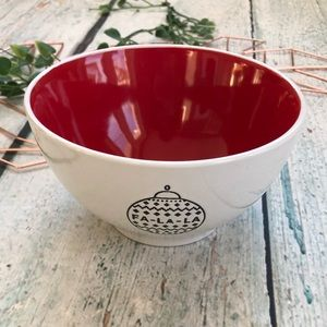 Other - Ceramic bowl holiday Christmas ornament red white